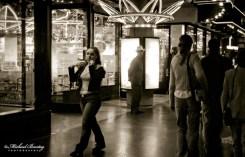 Pedestrians, Kodak Theatre, Hollywood, Los Angeles, California. Fujifilm Neopan 1600 35 mm Black and White film.
