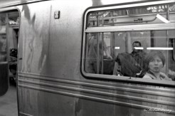 Subway, Manhattan, New York, New York. Ilford HP5+ BW negative 35mm film.