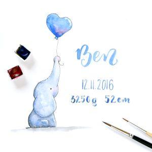 Aquarellbild als Geburtsgeschenk mit Brush-Lettering des Namens und Geburtstages des Neugeborenen