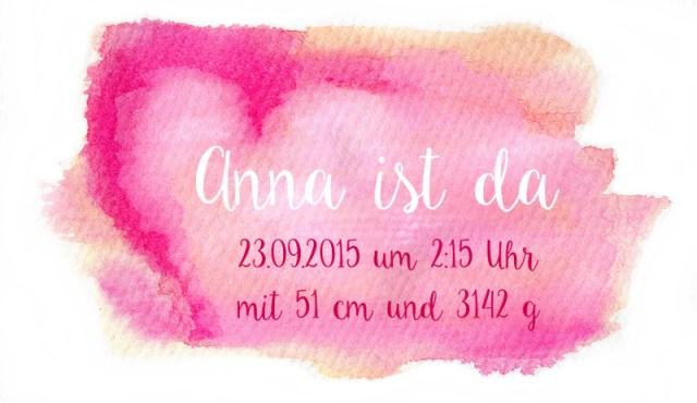 Aquarellhintergrund Pink mit Beispiel-Geburtsanzeige