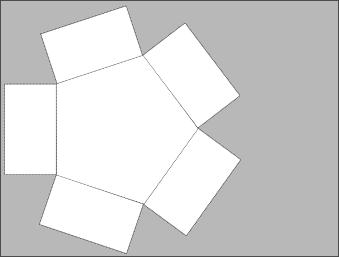 Fünfeckige Grundform auf Papier