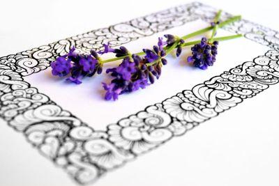 Doodle Rahmen mit Lavendel