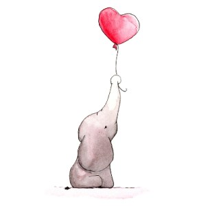 Elefant mit Luftballon / baby elephant with balloon