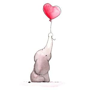 Elefant mit Luftballon / baby elephant with balloon