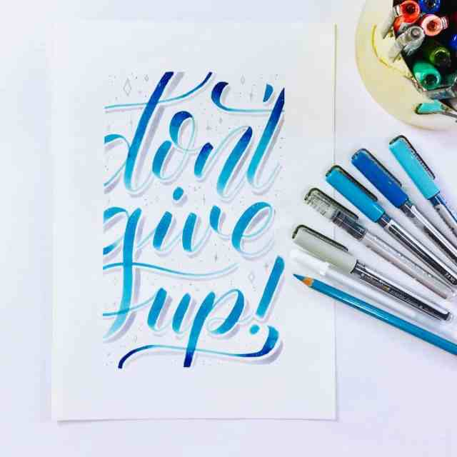 don't give up - brushlettering lernen