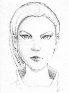 Bleistiftzeichnung verärgerte Frau