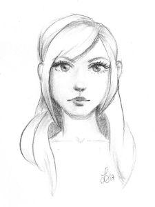 Bleistiftzeichnung eines hübschen, langhaarigen Mädchens