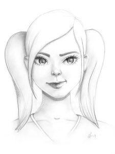 Bleistiftzeichnung eines kessen Mädels mit zwei Zöpfen