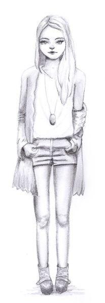 Mädchen in kurzen Hosen - Bleistiftskizze