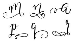 Auch an diese Buchstaben kann man Schnörkel anbringen