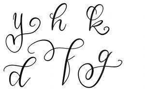 Schnörkel (Flourishes) an Buchstaben