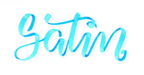 Satin - Satinband Lettering mit Tombow Dual Brush Pen