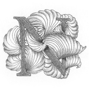 Tangle-Monogramm N - Ludmila Blum (Bunte Galerie)