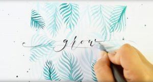 Watercolor Blätter Brushlettering Hintergrund - Videotutorial von Ludmila Blum, Bunte Galerie