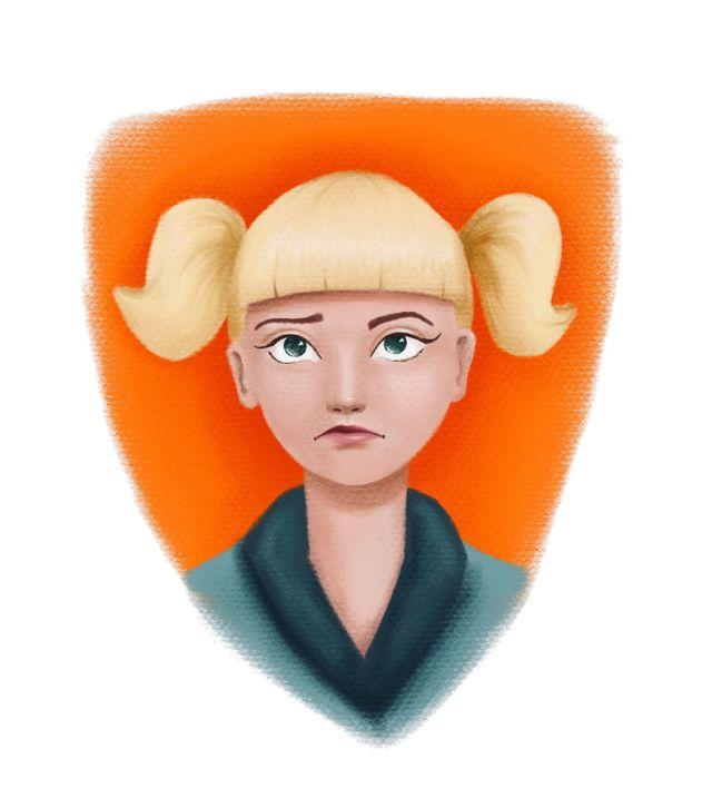 nicht mein Tag - Illustration blondes Mädchen mit Zöpfen