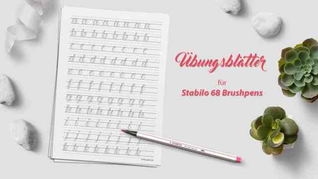 kostenlose Brushlettering Übungsblätter für Stabilo Brushpens