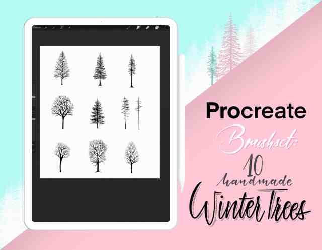 Procreate Brushset Winter Trees - Winterbäume als Stempel