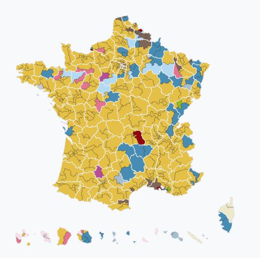 mappa risultati elezioni legislative in Francia