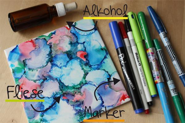Alkohol + Permanentmarker = Interessantes Farbenspiel