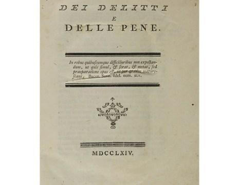 Dal frontespizio della prima edizione dell'opera di Cesare Beccaria stampata a Livorno nel 1764