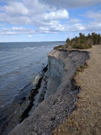 Tall limestone cliffs