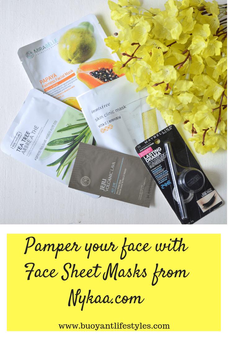 Korean face sheet masks + nykaa website+ the face shop + face