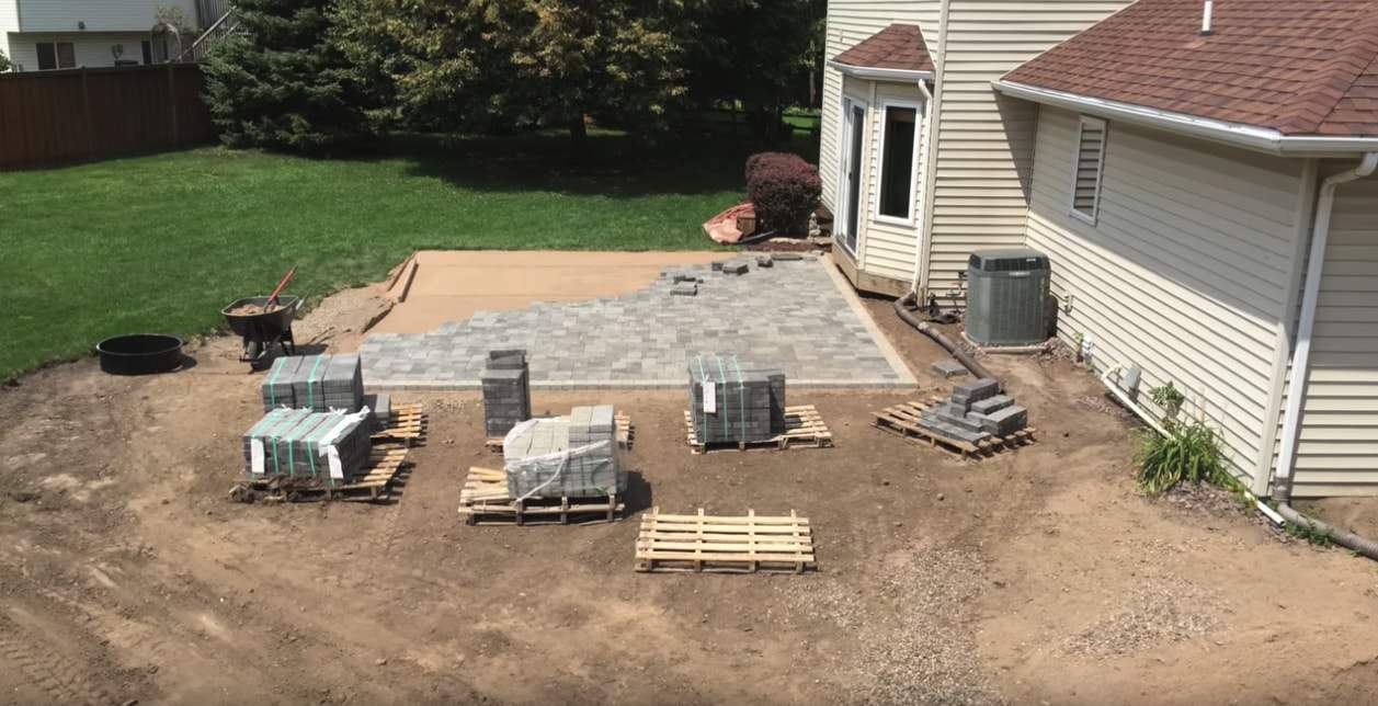 paver patio on uneven ground for