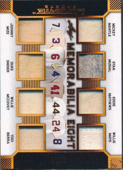 2019 Leaf Ultimate Sports Ultimate Eight Mantle/Musial/Berra/Mays Jsy /15
