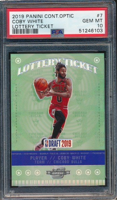 2019 Panini Contenders Optic Lottery Ticket #7 Coby White PSA 10