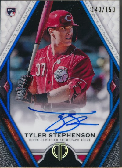 2021 Topps Tribute Autographs Blue #TA-TS Tyler Stephenson RC Auto /150