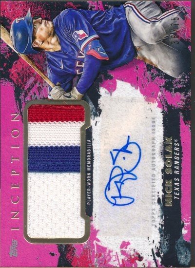 2021 Topps Inception Patch Autographs Magenta #NS Nick Solak Auto Jsy /75