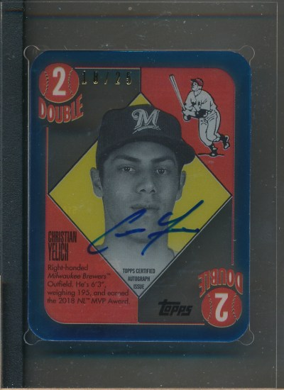 2020 Topps Clearly Authentic '51 Red Blue Back Auto Blue #CY Christian Yelich Auto /25