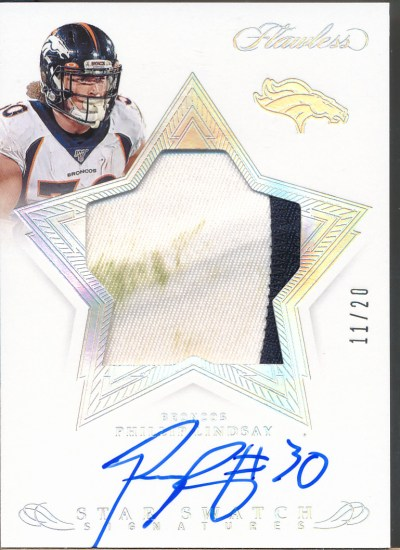 2019 Flawless Star Swatch Signature Silver #PL Phillip Lindsay Auto Jsy /20