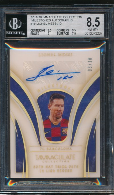 2019 Immaculate Collection Milestones Autographs Lionel Messi 3/10 BGS 8.5