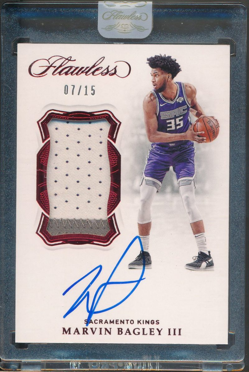 2018-19 Panini Flawless Vertical Patch Auto Ruby Marvin Bagley III RC Auto Jsy /15