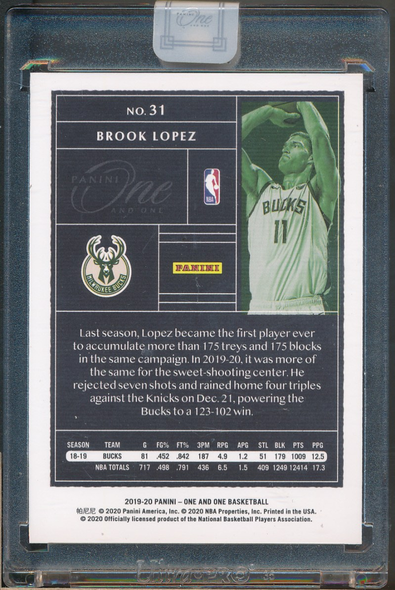 2019-20 Panini One & One Red #31 Brook Lopez /15