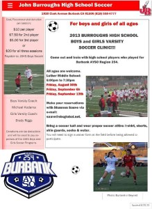 John Burroughs High Is Hosting A Soccer Clinic For All Ages!