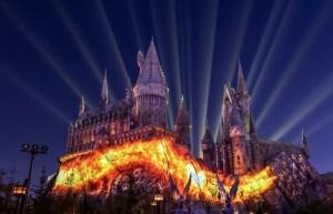 Hogwarts Castle lit up at night