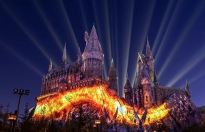 Hogwarts Castle lit up at night