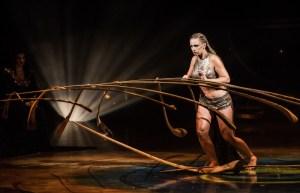 Female performer balancing in cirque du soleil