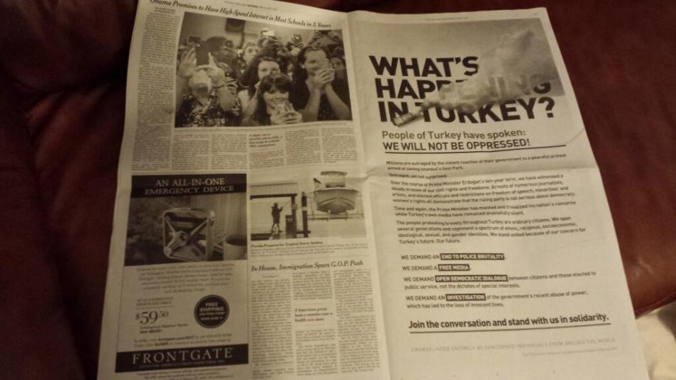 New York Times'ta yayınlanan Gezi direnişi ilanı