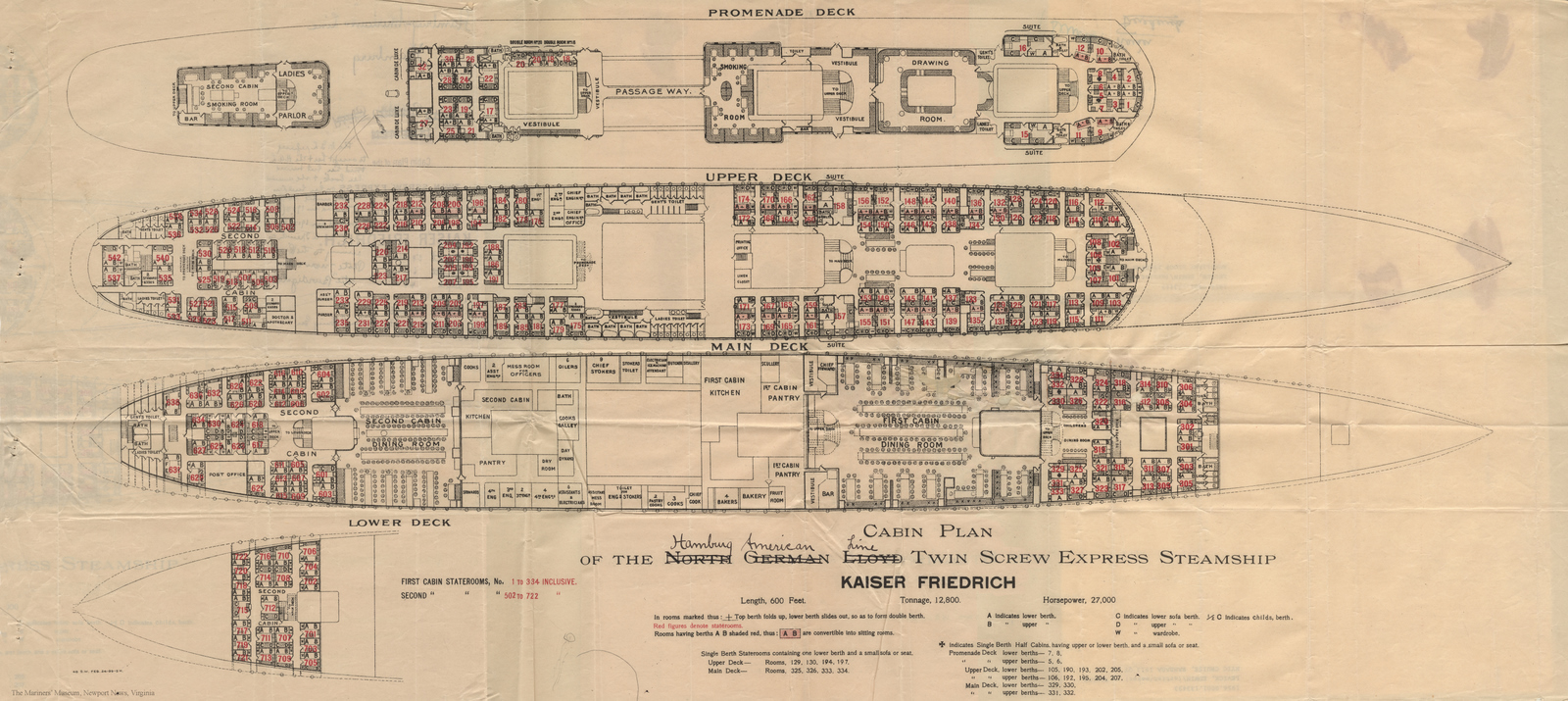 Kaiser Friedrich Accomodation Plans