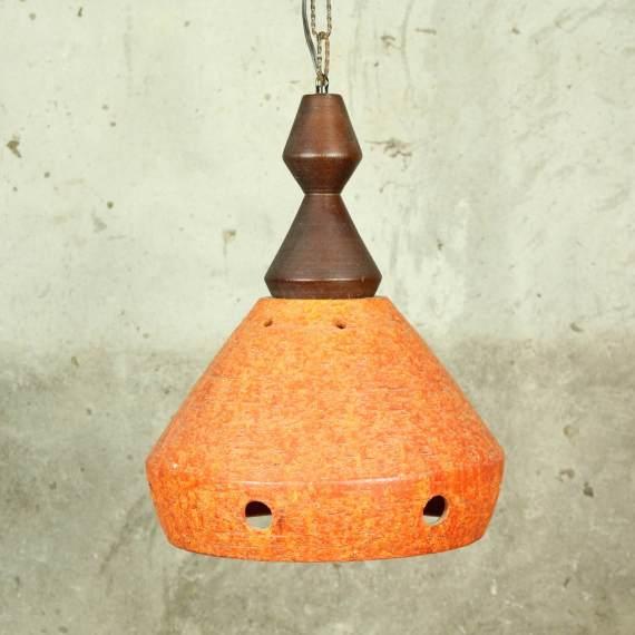 Retro vintage oranje stenen hanglamp jaren 50