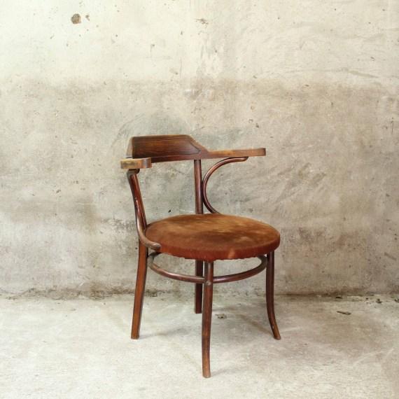 Vintage Thonet 233 stoel met gestoffeerde zitting