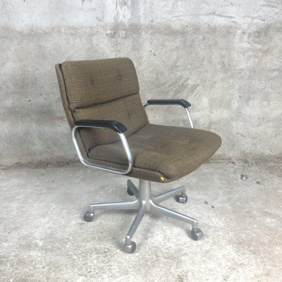 Gave vintage bureaustoel in gemêleerde bruine stoffering
