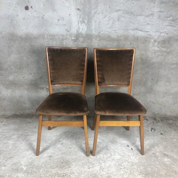 Vintage antieke jaren-30 stoelen in mooi velours