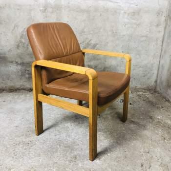 Vintage Sedus stoel in massief hout en zacht leer