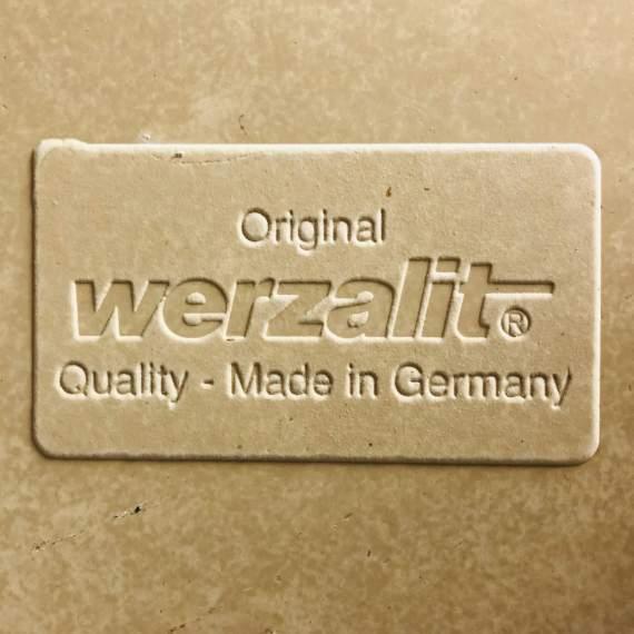 Stoere rvs statafel met Werzalit blad 70 x 70 cm