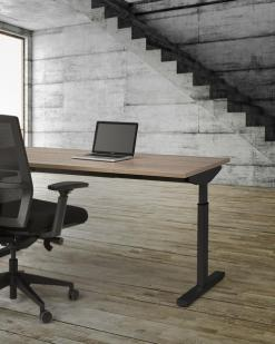 Bureau Easy, zeer makkelijk montage, zwart fram en Robson eiken blad. Bureaustoelen MKB