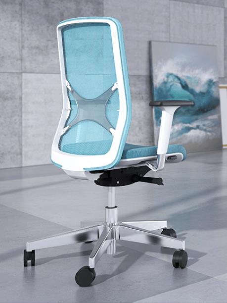 Ergo Wind bureaustoel met blauwe rug en wit frame. Aluminium kruisvoet | Bureaustoelen MKB | narbutas